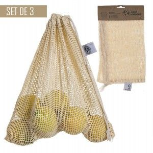 Bag Purchase Reusable, Set of 3 Mesh Bags Organic, 100% Cotton, Bags Portalimentos. 30x30cm - Home and More