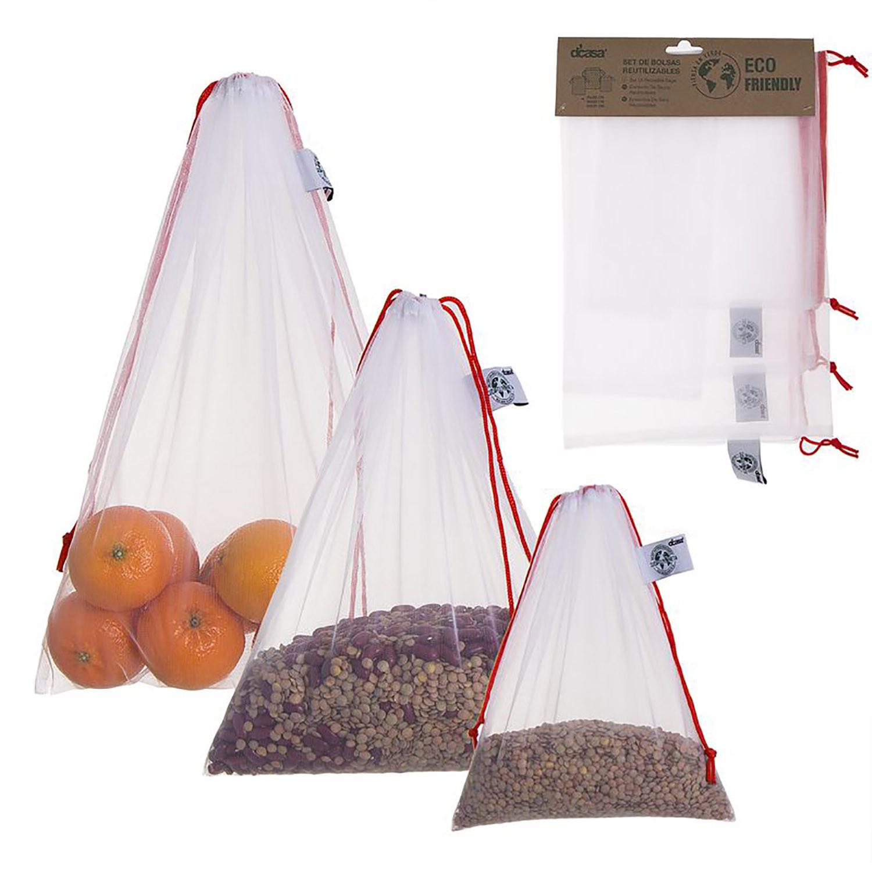 Bolsa Compra Re-utilizable, Juego de 3 Bolsas para Alimentos. Productos Eco-Friendly Set de Bolsas Reutilizables