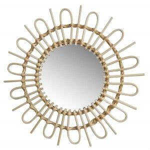 Espejo Pared Circular de Ratán Natural, Espejos Decorativos Originales. Decoración Dormitorio/Baño ø49 cm