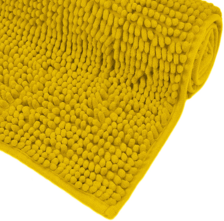 Alfombra Baño Antideslizante Amarilla, Alfombras de Baño Suave y Absorvente para Ducha 80x50 cm