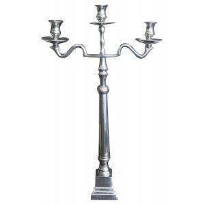 Candelabro Decoración Metal, Candelabros Decorativos de Velas, Color Plateado, Decoración Elegante, 70x43,5x10cm - Hogar y Más