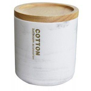 Algodonero con Tapa de Resina, Diseño de Mármol. Algodonero Bastoncillo y Discos de Algodón, Elegante/Moderno 10,5x9,5cm