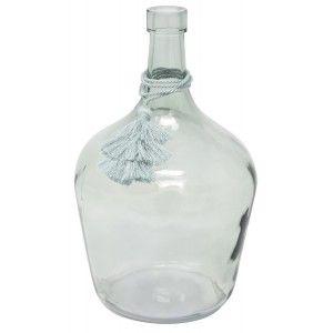 Vase Turquoise art Glass Tassel, Ethnic Decoration Vases Decoration Glass 26X17 cm