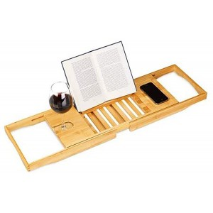 Wooden tray for Bathtub Extensible with Support for Cups and Books, Tray, Tub Adjustable Bamboo 105 cm