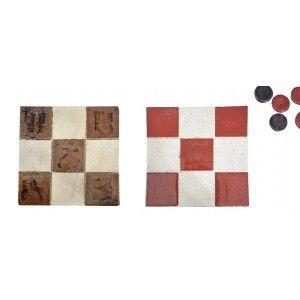 3 en Raya de Cerámica Natural, 3 en Raya Decorativo Artesanal 100% a Mano, Juegos Habilidad/Educativos, 6piezas, 16,5x16,5x2cm