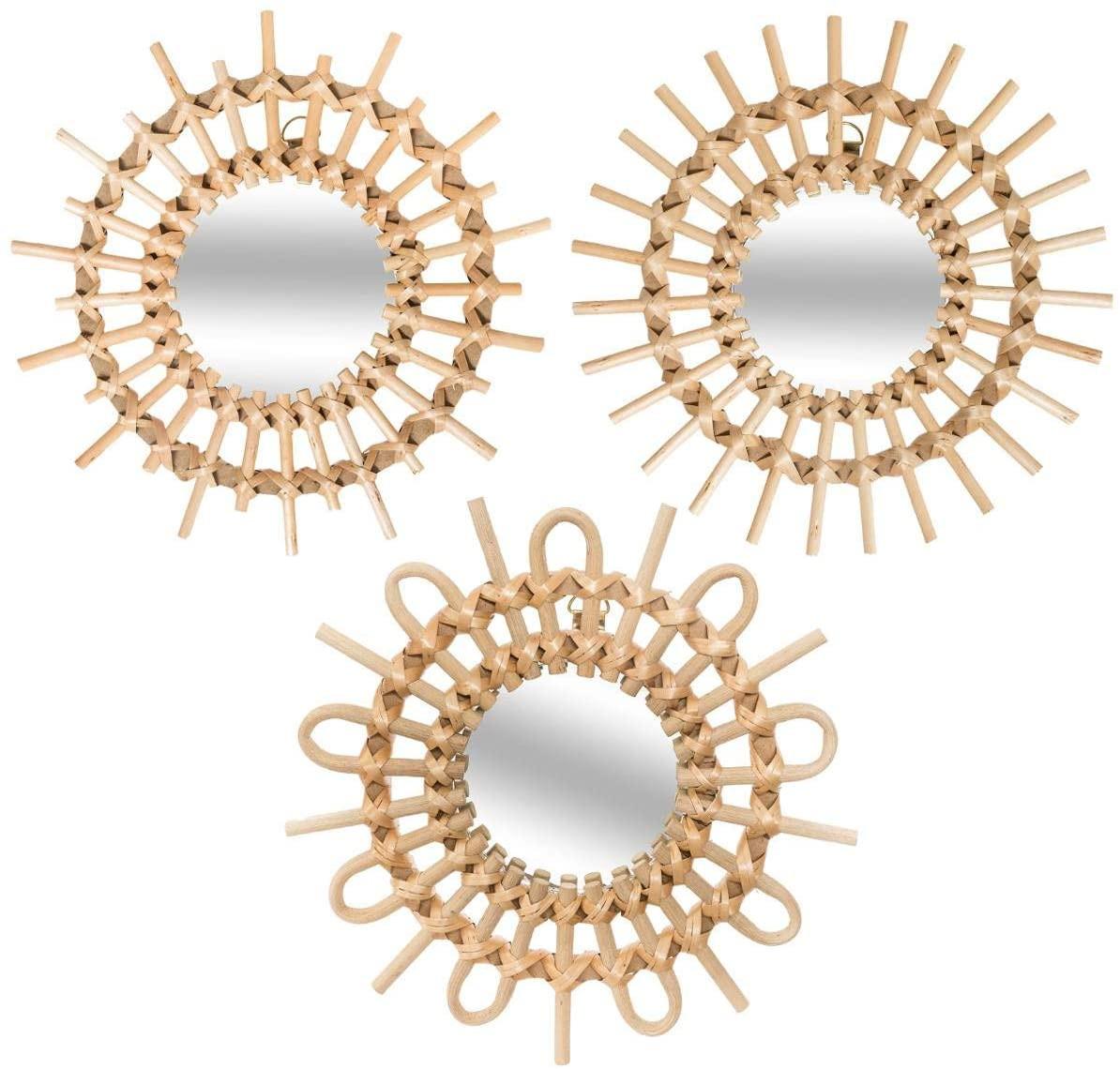 Espejos Pared  Decorativos de Ratán Geométricos, ideales para Dormitorio. Diseño Moderno/Original. Juego de 3 - Hogar y Más