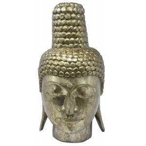 Cabeza Buda Grande Decoración de color Dorado, Decoración Budista de Interior o Exterior 22x30x40 cm