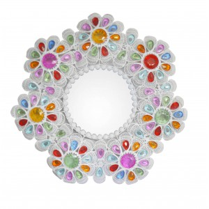 Mirror Wall Decorative-Round, multi-coloured, made of Metal with Gems, for Bedroom. Floral design with Vintage style 55 cm
