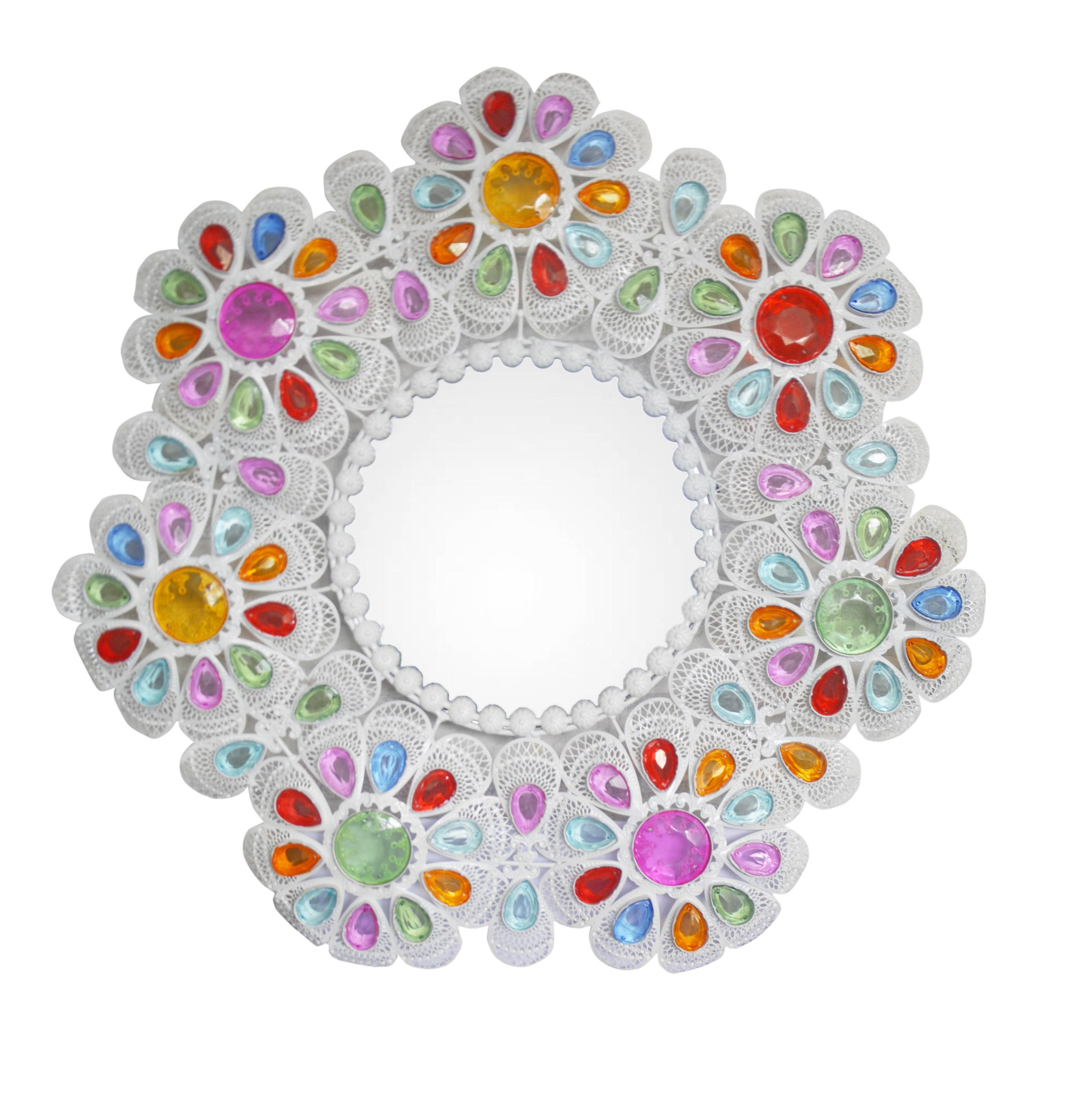 Espejo Pared Decorativo Redondo, Multicolor, de Metal con Gemas, para Dormitorio. Diseño Floral con estilo Vintage 55 cm