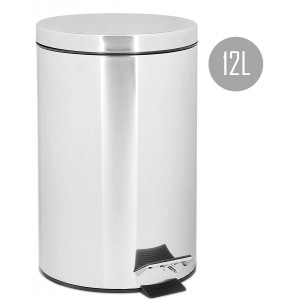 Bucket Trash Kitchen 12L with Pedal, Stainless Steel.Cube Waste from Silver, Kitchen and Large Bathroom, 39x28,5x25cm