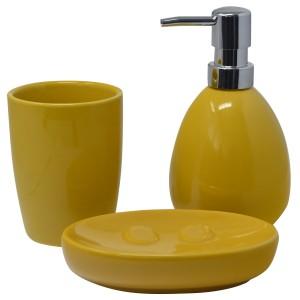 Set/Bathroom Set of 3 Pieces Ceramic, Color Yellow, Design, Modern/Stylish. Glass, Dispenser and Tray of bath -Hogarymas
