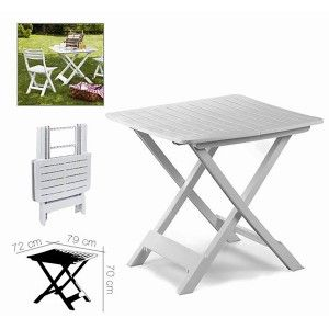 "Folding table ""TEVERE"" White, side Table, Foldable White Table, Terrace, Garden or Camping, 79x72x70cm - Home and More"