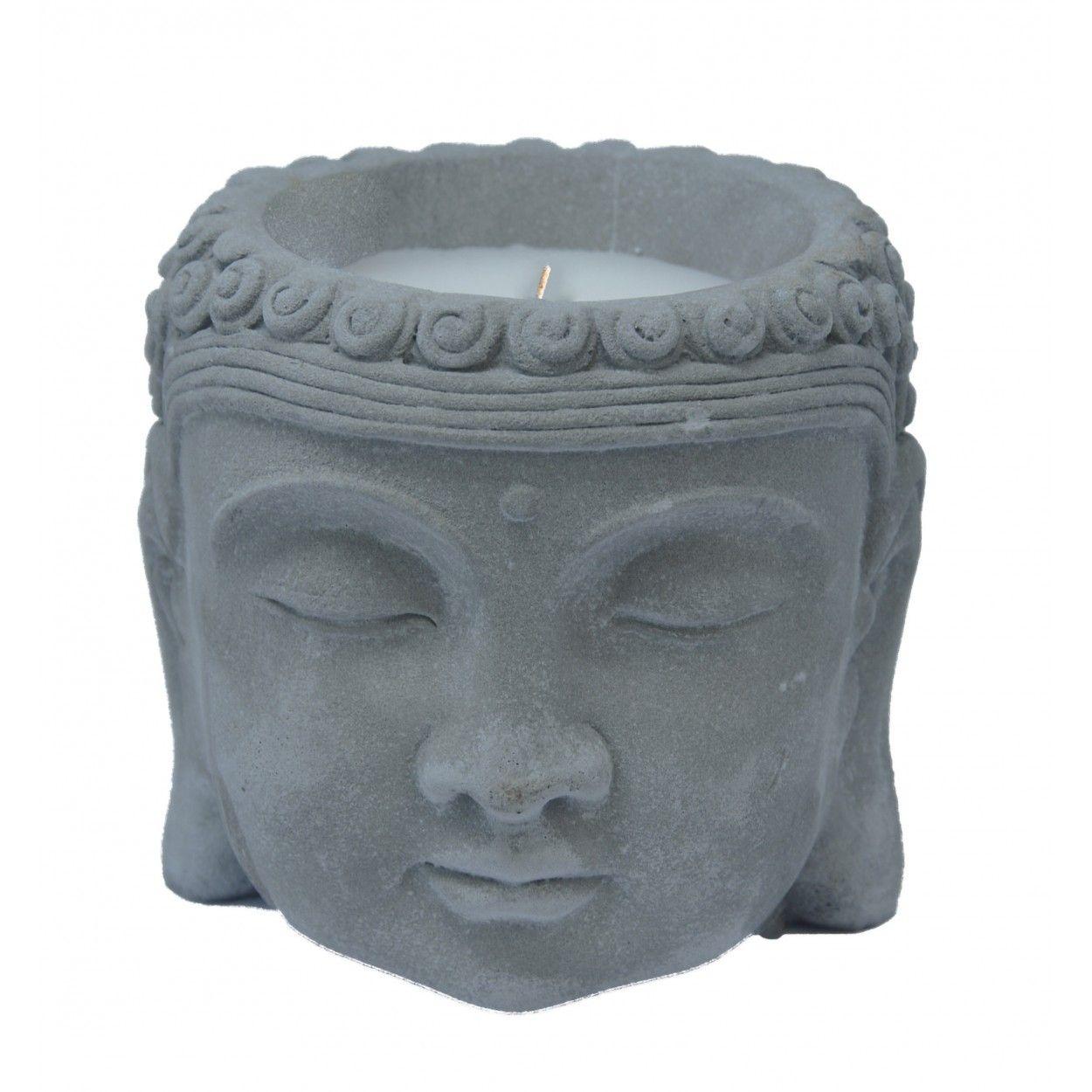 Candle Citronella Buddha Head, Candles, Anti-mosquito. Decor Buddhist Pottery 13x13 cm
