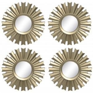 Circular mirror in set of 4 units for decoration. Stylish design. Style Deluxe. 20 x 20 cm - Home and more