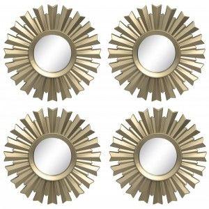 Espejo circular en set de 4 unidades para decoración. Diseño elegante. Estilo Deluxe. 20 x 20 cm - Hogar y más