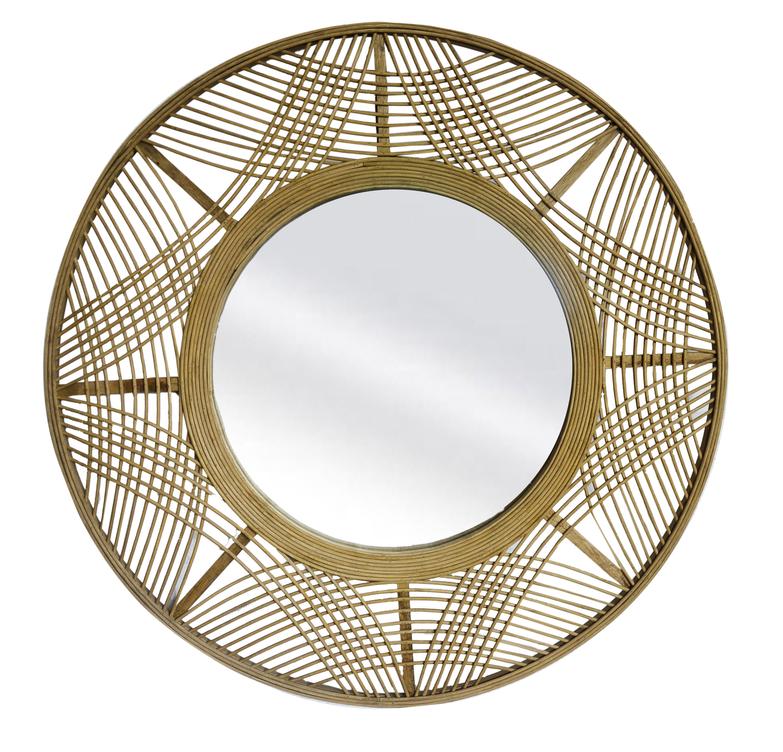 Espejo Pared Circular de Bambú, Gran tamaño. Espejos Decorativos Originales ø69 cm