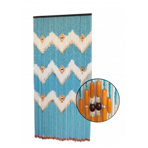 Curtain for door exterior color blue, wood. Geometric design and Original. 90 x 200 cm - Home and more.
