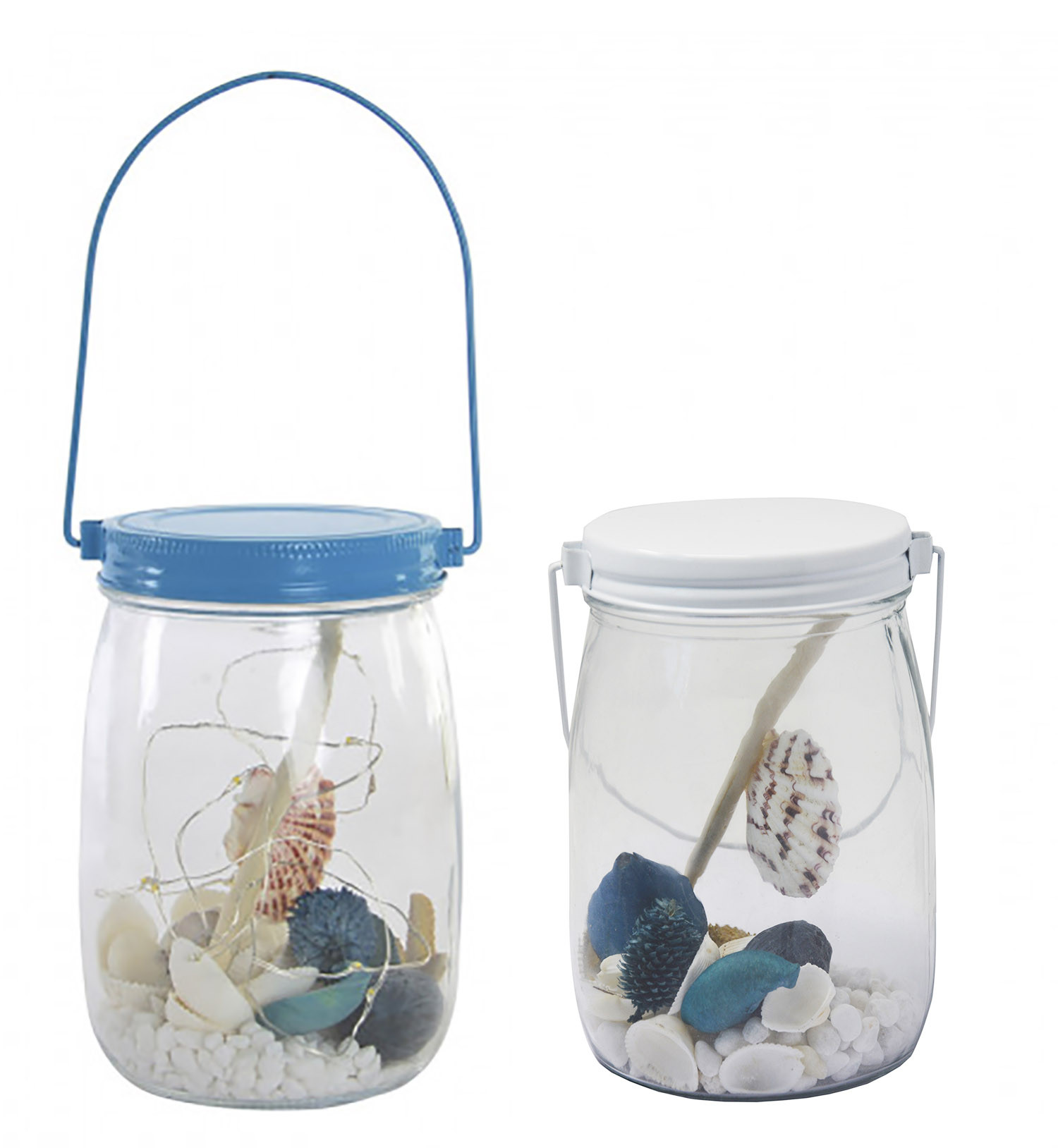 Bright decoration, made in a Glass jar, with Shells and LED Lights. Design Marine, with Modern style - Home and More