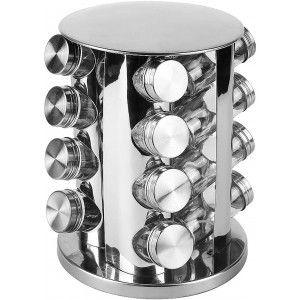 Especiero Organizador, Juego de 16 botes para especias de cocina con soporte giratorio. PortaEspecias Acero Inox 26x18,5 cm