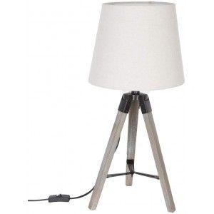 Lámpara de Sobremesa Blanca Nórdica, Lámpara Trípode de Madera Natural 58x25cm