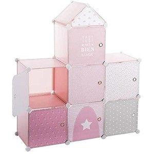 Mueble de Almacenamiento para Habitación, Mueble Infantil con Forma Castillo con 7 Espacios de Almacenamiento