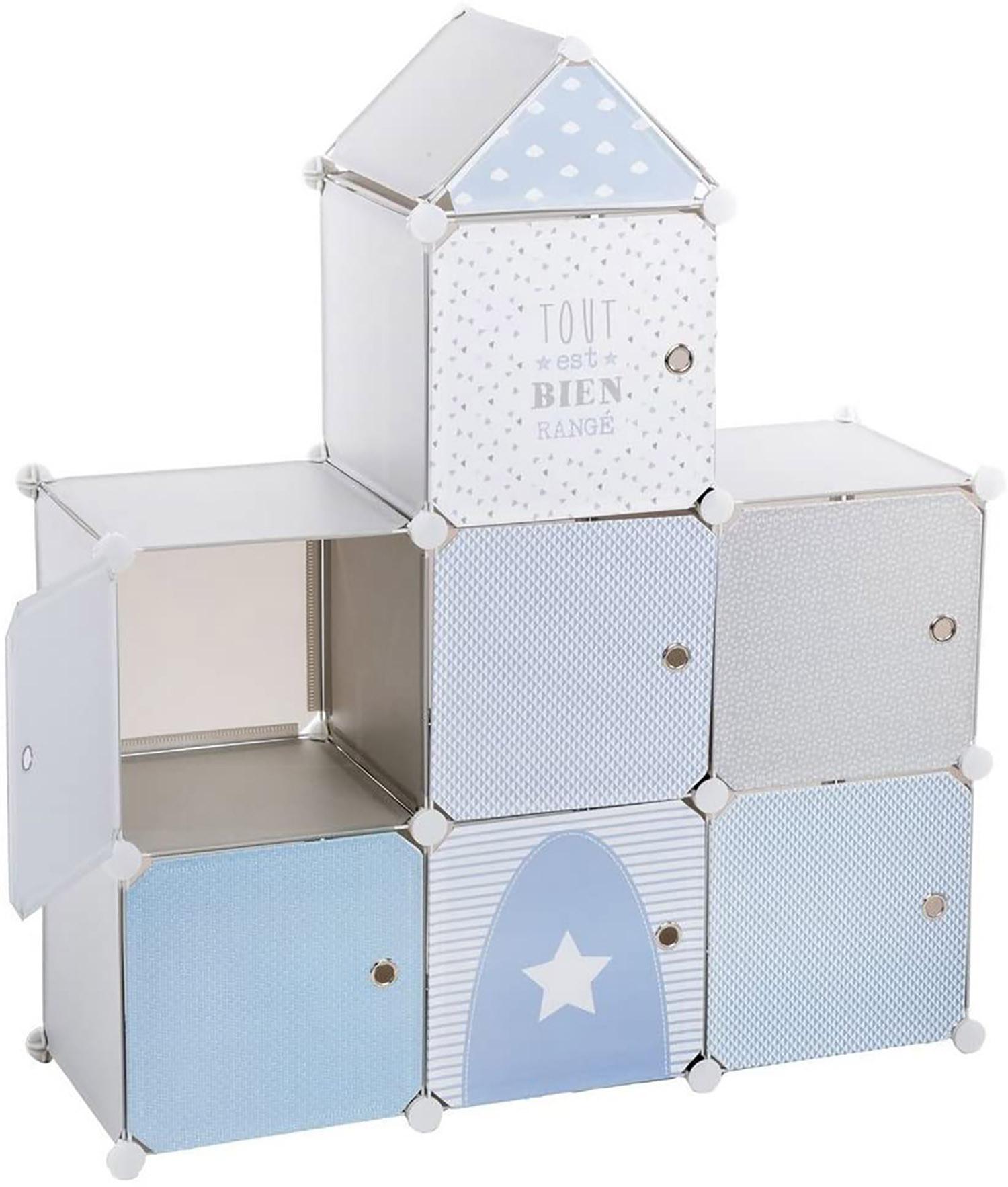 Mueble de Almacenamiento para Habitación, Mueble Infantil Azul con Forma Castillo con 7 Espacios de Almacenamiento