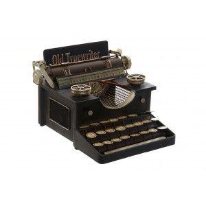 Maquina Escribir Metal Decoracion Negro 24x26x15