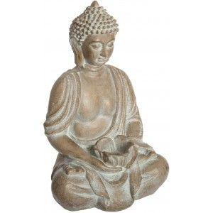 Figura Buda Decoración Grande, Porta-velas Buda de Cerámica, Figuras Decorativas Exterior/Interior 39x20x19cm - Hogar y Más