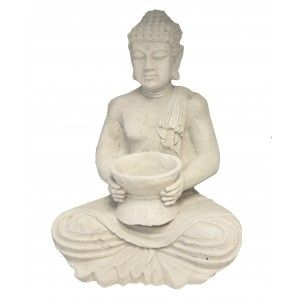 Buda Jardín Decorativo, Figuras Decoración de Jardín o Exterior. Buda Porta-velas Grande 42x24x30 cm