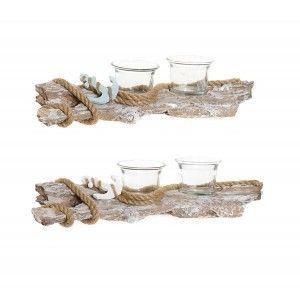 Portavela de Decoración con diseño de Tronco fabricado en Resina y Cristal para 2 Velas 31,5x8x7,5 cm