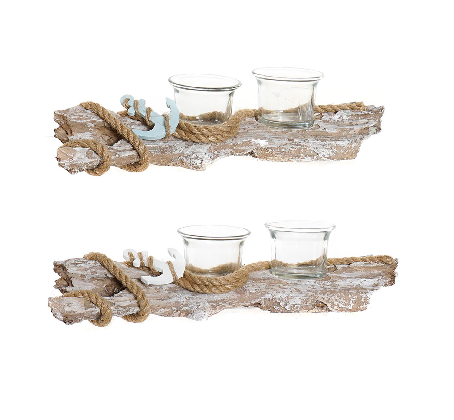 Metal holder Decorated with design of Trunk made of Resin and Glass for 2 Candles 31,5x8x7,5 cm