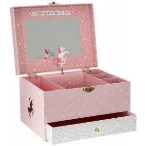"Joyero Musical Infantil Unicornio, color Rosa y Blanco, ""ONCE UPON A TIME"", Diseño Infantil con estilo Fantasía 21,5x16,5x14cm"
