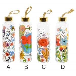 Botella de Agua Diseño Floral Transparente de Borosilicato 6,5x6,5x23 cm