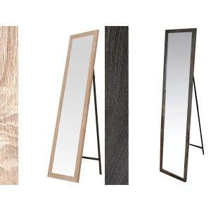Espejo de Pie en Madera de Color Natural, Acabado Natural, para Dormitorio, Fácil montaje 30x150cm - Hogar y Más