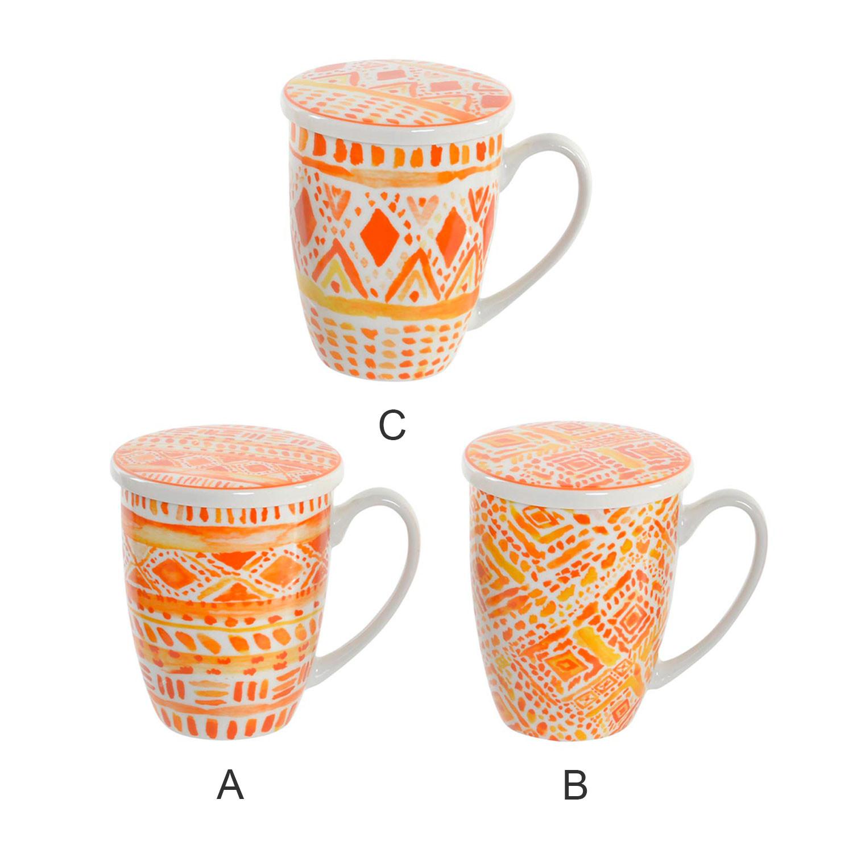 Mug Taza para Infusiones de Porcelana Diseño Étnico 12x8,3x11 cm 380 ml