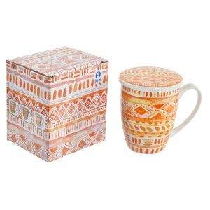 Mug Cup for Teas, Porcelain, Ethnic Design 12 x 8,3x11 cm 380 ml