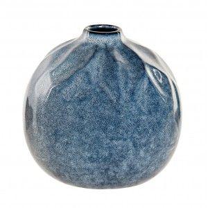 Vase Stoneware Oval Blue color Mediterranean Style 16x16x15 cm