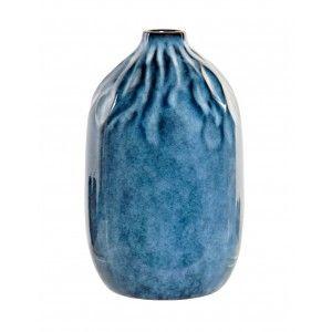 Jarrón Gres Ovalado color Azul Estilo Mediterráneo 16x16x15 cm