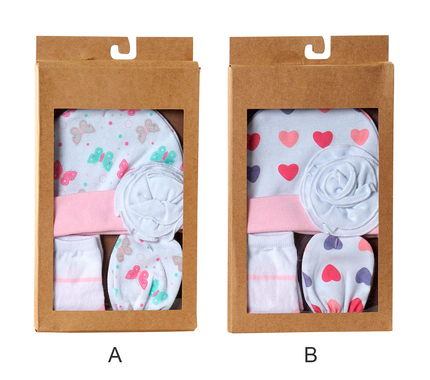 Set Baby 0 to 6 months 4-piece Hat, Socks and Mittens 24x28x7 cm