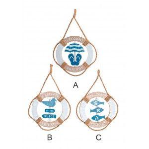 Decoracion de Pared Diseño Marinero Azul con cuerda MDF 20x2x32 cm