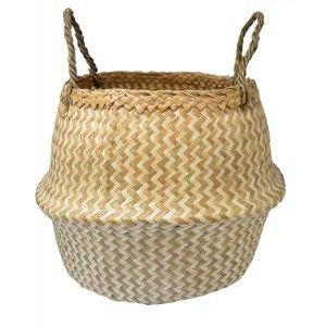 Basket Rattan Wicker Natural, with style, Ethnicity, Basket, Clear Zig-Zag Folding, Storage, modern, original, 36x44cm