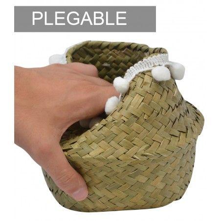Basket Rattan Wicker Natural, stylish Ethnic, Basket Natural with pom Poms Folding, Storage, modern, original, 16x14cm