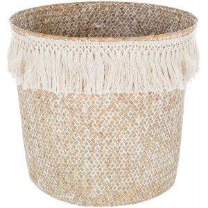Basket Rattan Wicker Natural, stylish Ethnic, Basket Natural with Fringes, Storage, modern, original, 26x24cm