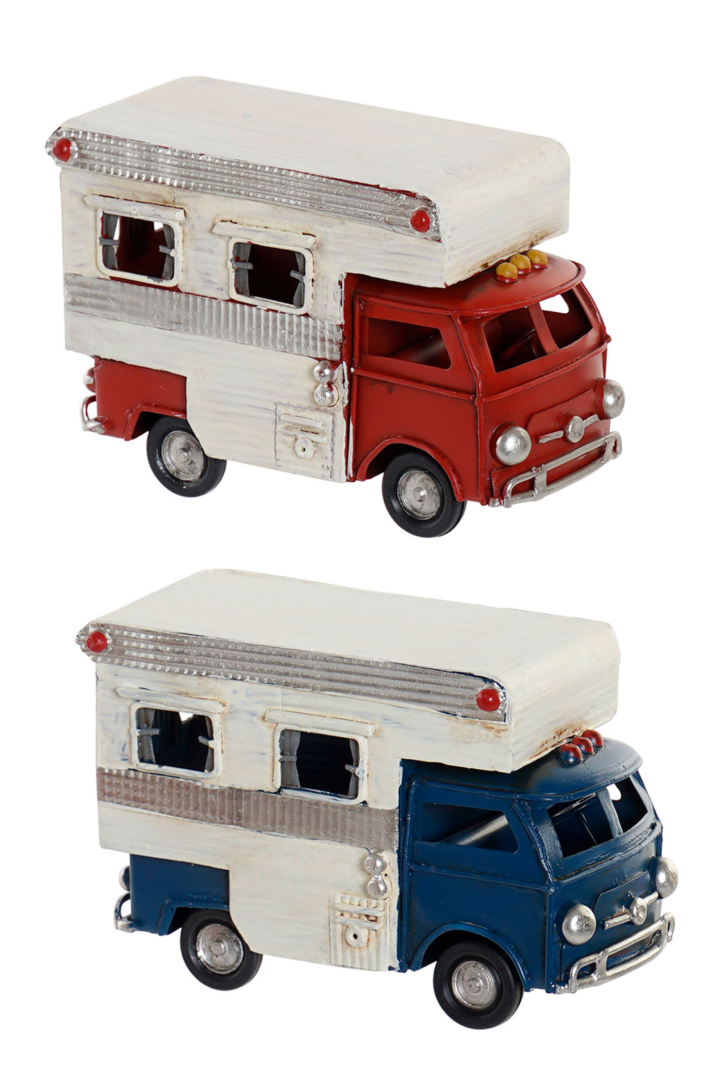 Autocaravana de Decoración Vintage Vehículo Metal 11,5x5x8