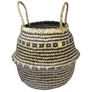 Basket Rattan Wicker Natural, stylish Ethnic, Basket Natural ZigZag Black Folding, Storage, modern, original, 36x36cm