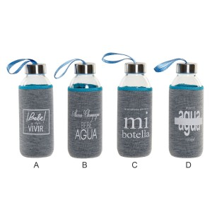 Water bottle Glass with Neoprene Sleeve 400 ml 6,5x6,5x27 cm