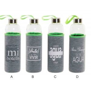 Water bottle Glass with Neoprene Thermal Sleeve 600 ml 7,5x7,5x33 cm