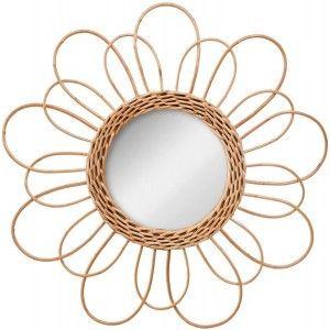 Mirror Circular Wall of Natural Rattan, Mirrors, Original Decorative. Decoration Bedroom/Bathroom ø38 cm
