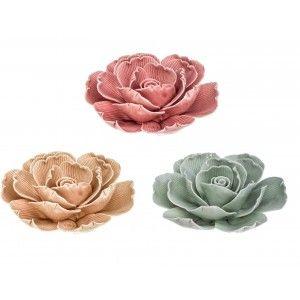 Rosa Flor Decorativa de Cerámica, Figura Decoración Original 10 cm