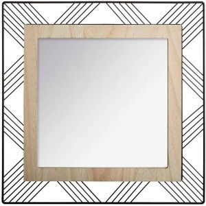 Mirror Square Wall of Metal and MDF, Mirrors, Original and Modern Decorative. Decoration Bedroom/living Room 45x45x1,5cm